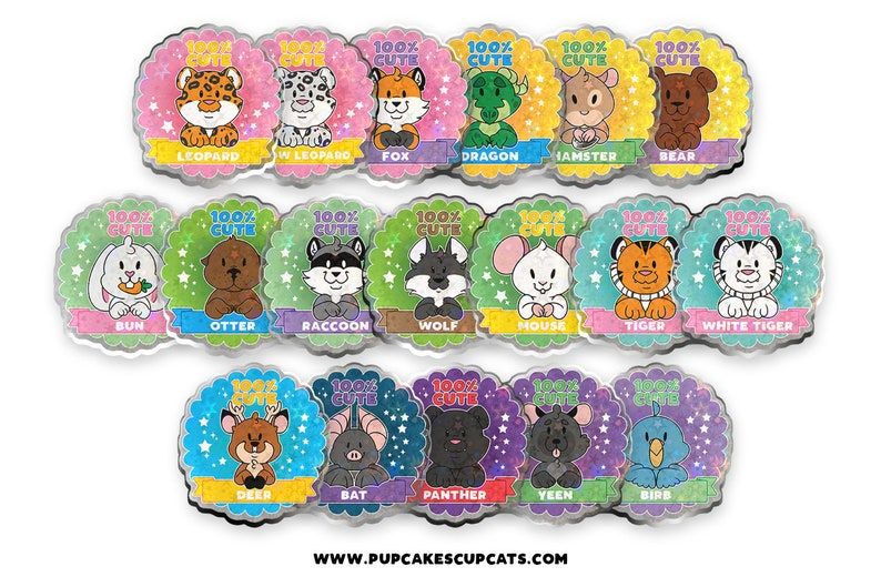 100% Cute Buttons  Series 2  Cute Animals Furry Pin image 0