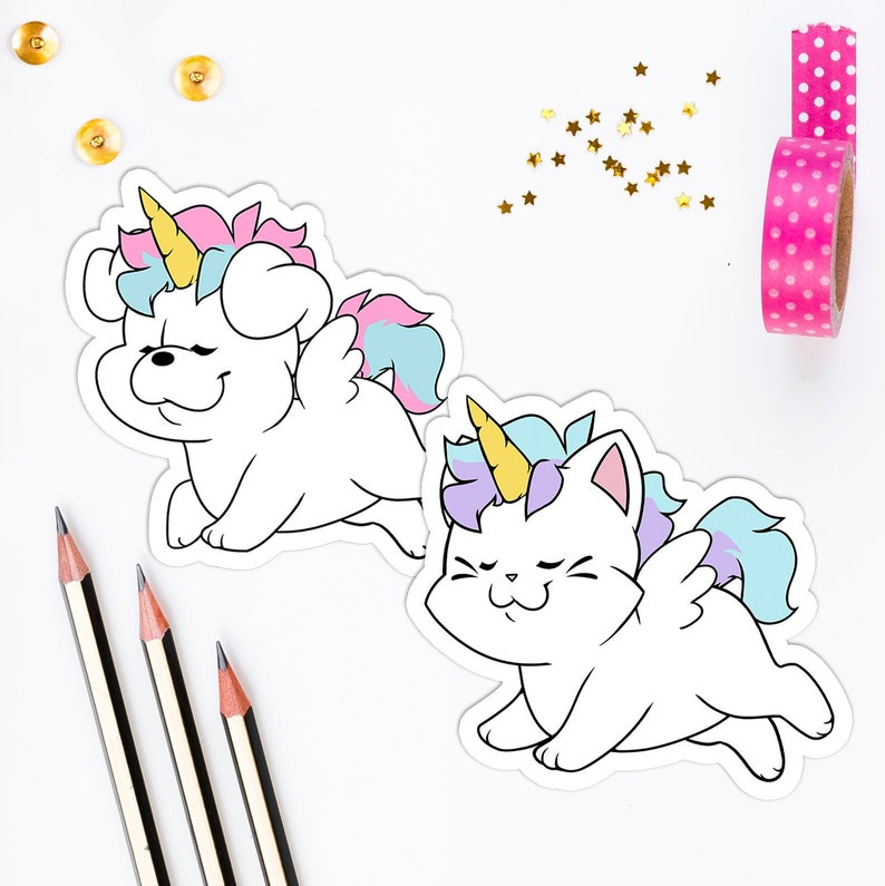 Funny Unicorn Dog and Cat Stickers  Vinyl Stickers Laptop image 0