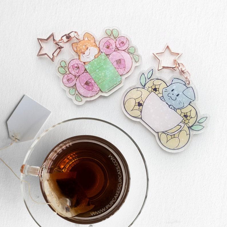 Tea Pup and Tea Cat Keychain  Tea Gift Pet Keychain Kawaii image 0