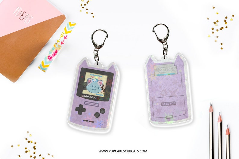 Good Boy Color Holographic Keychain  Gameboy Parody image 0