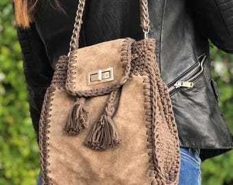 bags & purses, suede bags, crossbody, crochet, leather bags, mini buckets, for her