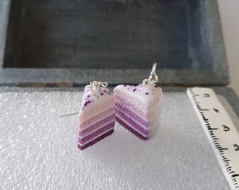 Purple ombre cake earrings