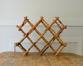 Vintage Accordian10 btl Wine Rack Tabletop or Wall with Brass Tacks- Vintage Mid Century Decor- Vintage Bohemian Kitchen Decor-