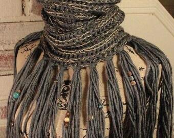 Boho Scarf with Fringe, tassel scarf, beaded, cowl neck, infinity scarf, gray scarf