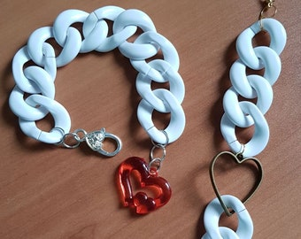 Heart Bracelets with chain links
