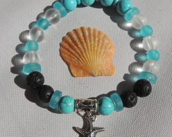 Sea glass Lava beaded bracelet with starfish charm / Lava beads bracelet / Beach jewelry / Beach meditation bracelet/ Beach accessories