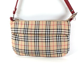 Designer Cross Body Bag Beige Plaid. Shoulder Bag Burberry Print Fabric 4d756f6686877