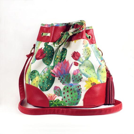 Womens Leather Botanical Cactus Green Handbag Satchel Tote Bag Tote Purse