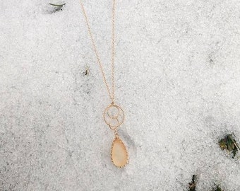 Citrine Necklace - Faux Citrine Necklace - Crystal Necklace - Rose Gold Necklace