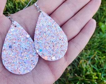 Peach Earrings - Gold Earrings - Faux Leather Earrings - Summer