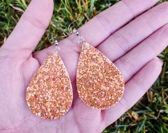 Orange Glitter Faux Leather Earrings - Sunshine Orange Earrings - Summer Earrings