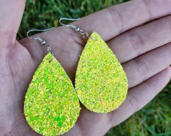 Yellow Earrings - Gold Earrings - Faux Leather Earrings - Summer