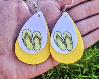 Flip Flop Faux Leather Earrings - Yellow Earrings - Summer Earrings