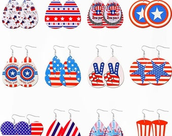 Lot of 3 - Patriotic Earrings - 4th of July Earrings - Faux Leather Earrings - Red White and Blue Earrings - Independence Day Earrings