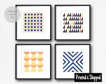 Abstract Square Geometric Prints, Minimalist Minimal Simple Colourful Graphic, Home Sitting Living Room Nursery Wall Art Decor 5x5 7x7 12x12