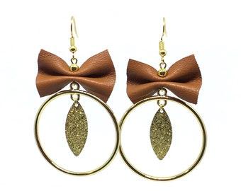 Brown leather bow shape, way hoop earrings