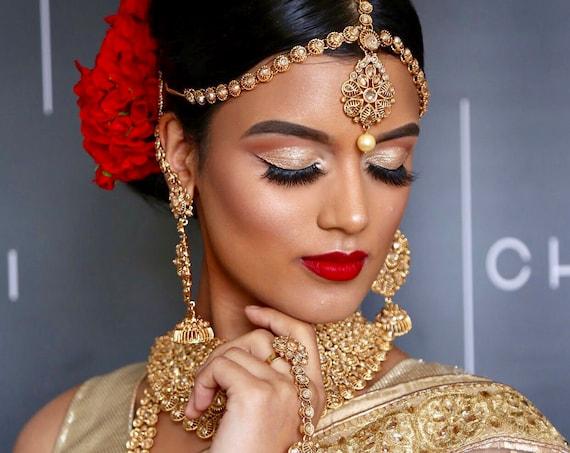 Shaleyn Gold zirconia Indian bridal set 8 piece Pakistani jewellery choker jhumka matha patti basu band handpiece rani haar