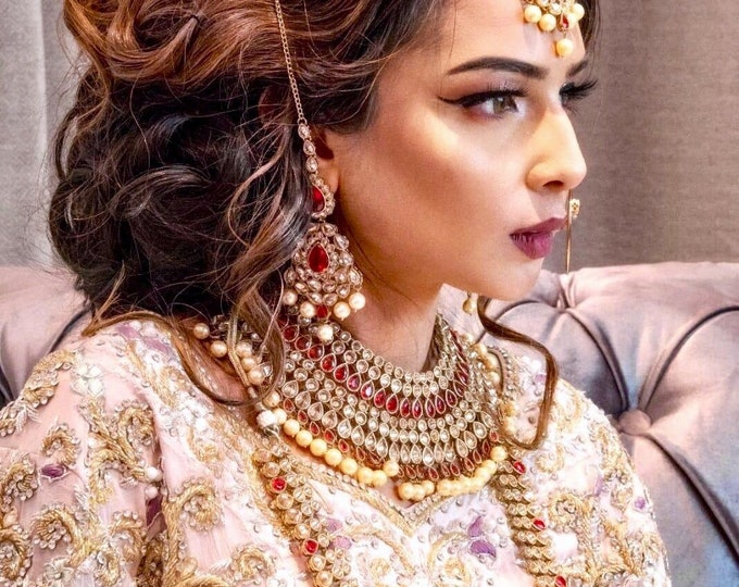 Featured listing image: Zarhmin Antique gold red zirconia and pearl Indian Bridal Pakistani jewellery