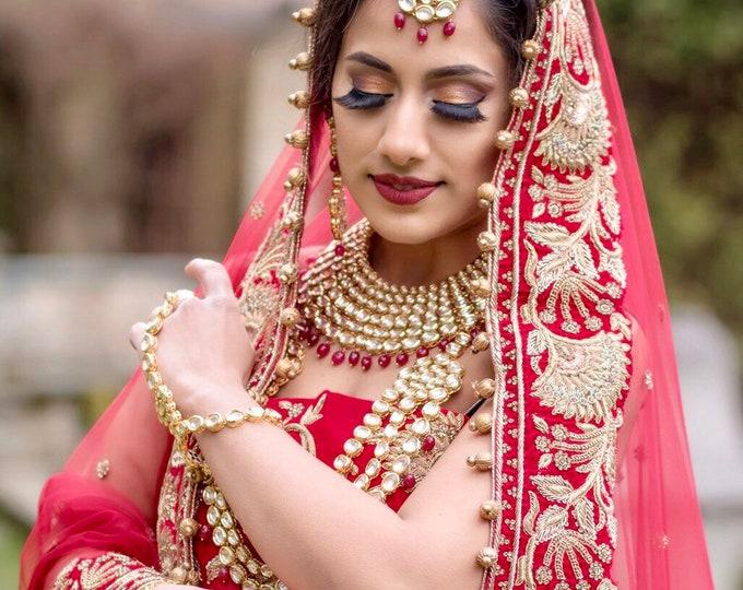 Featured listing image: Sonam Gold kundan 7 piece full indian bridal set
