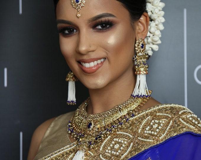 Featured listing image: Khushi Gold zirconia blue pearl tassel necklace jhumka earrings tikka set indian bridal Pakistani jewellery