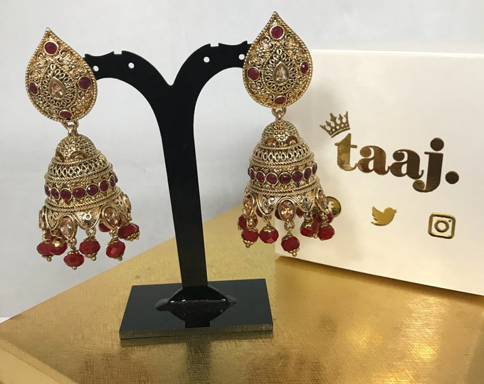 Featured listing image: Daliah Gold zirconia ruby colour jhumka earrings
