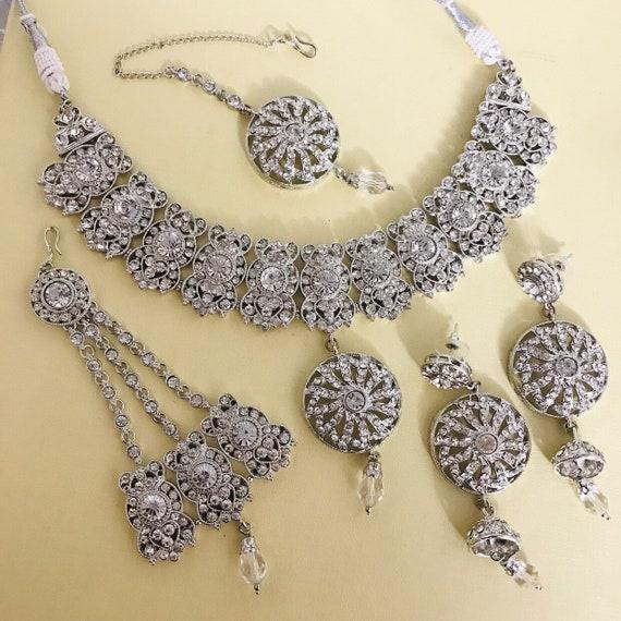 Mila Silver diamanté necklace jhumka earrings jhumar tikka indian bridal jewellery