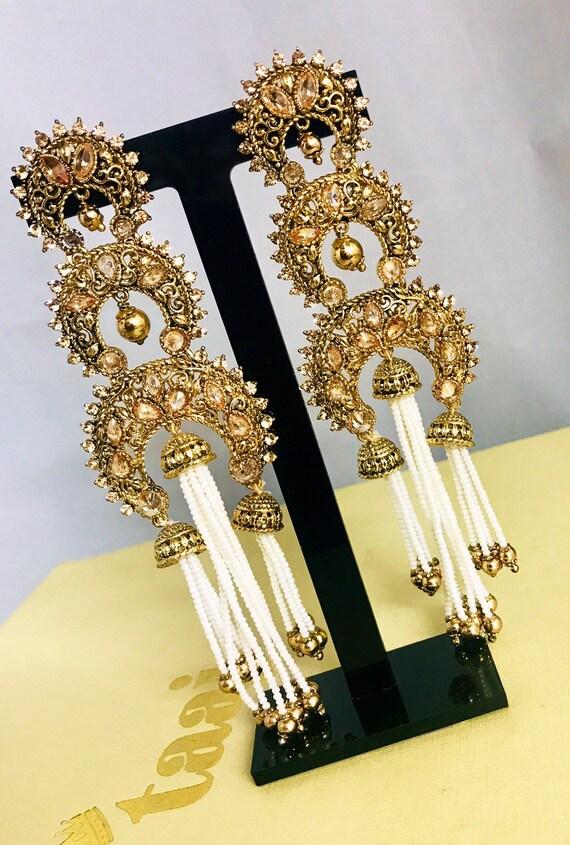 Hasina gold zirconia 3 jhumka pearl strand earrings indian Bridal Pakistani jewelry