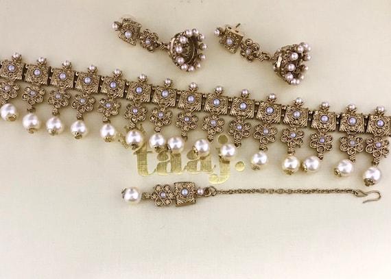Amelia Gold and pearl choker necklace jhumka earrings & tikka set Indian bridal Pakistani style jewellery
