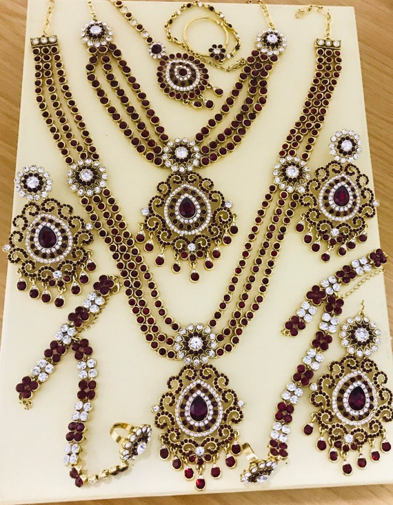 Sonakshi Gold maroon 9 piece indian bridal Pakistani jewelry