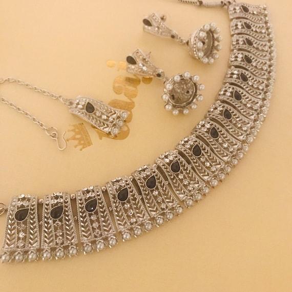 Sara Silver black pearl choker necklace jhumka earrings tikka set, indian bridal Pakistani jewelry