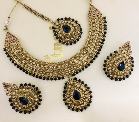 Shanti Antique gold & black necklace tops earrings and tikka set indian bridal Pakistani jewelry