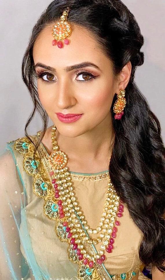 Ahat Gold kundan rani haar necklace earrings tikka set Indian bridal jewellery