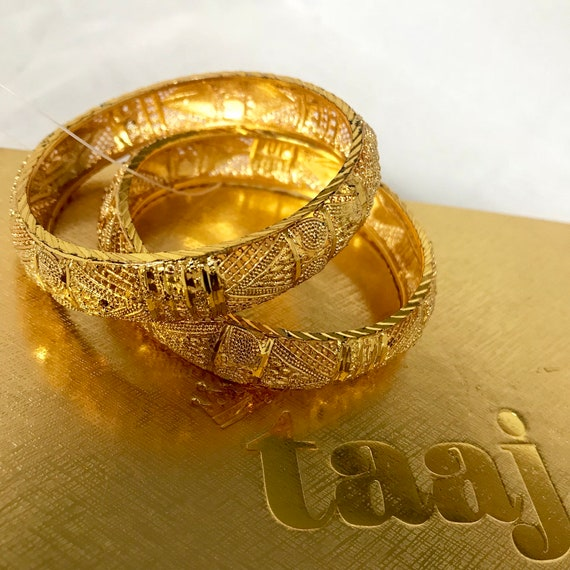 Celia Indian faux gold kara bangle bracelet pair, bridal Pakistani jewellery