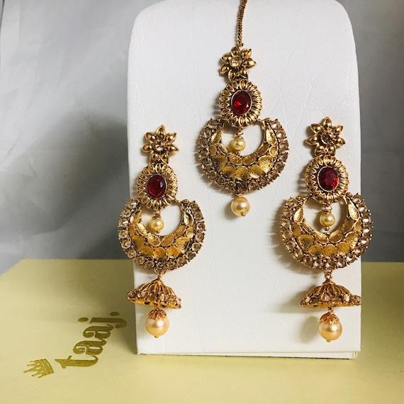 Neha Gold red pearl jhumka earrings and tikka set Indian bridal Pakistani jewellery