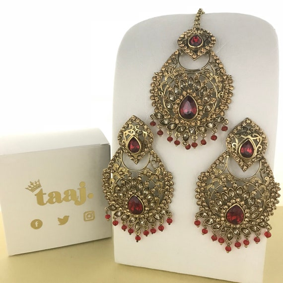 Nori Gold & red zirconia bead earrings and tikka set Pakistani style Indian Bridal jewellery