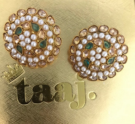Jhanak Gold & green pearl polki zirconia stud tops earrings, indian Pakistani bridal jewellery