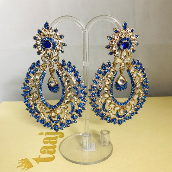 Badia Gold blue diamanté large statement earrings indian bridal Pakistani jewellery