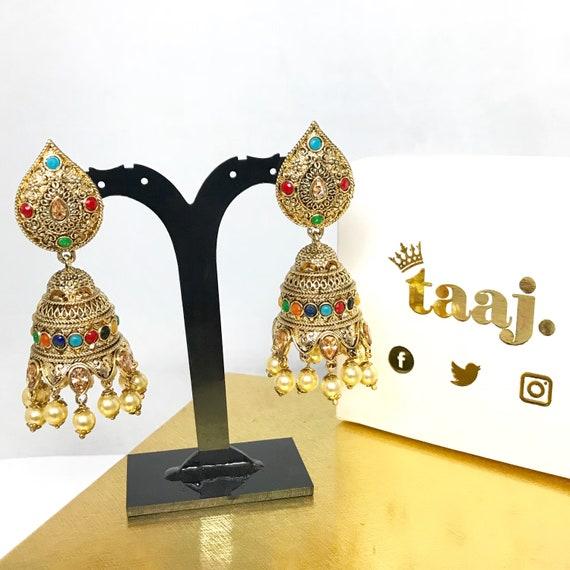 Daliah Gold zirconia multi colour jhumka earrings