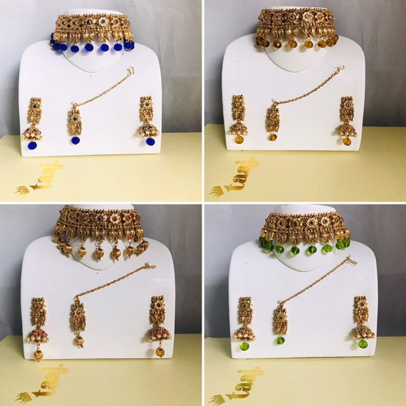 Clara Gold blue green peach choker necklace jhumka earrings tikka set