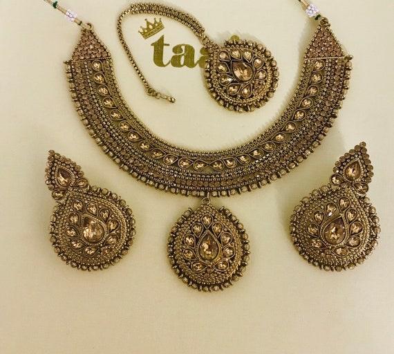 Esha Antique gold polki necklace tops stud earrings tikka set