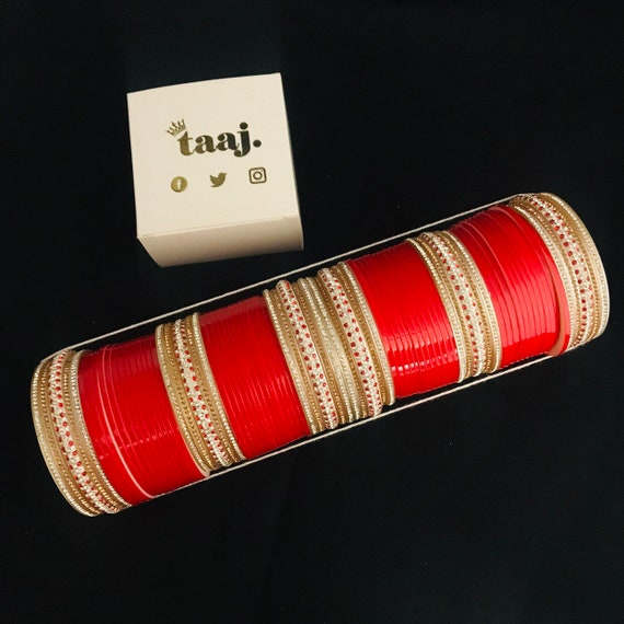 Divjot Red gold diamanté chura indian bridal bangles traditional punjabi choora kara suhaag kangan