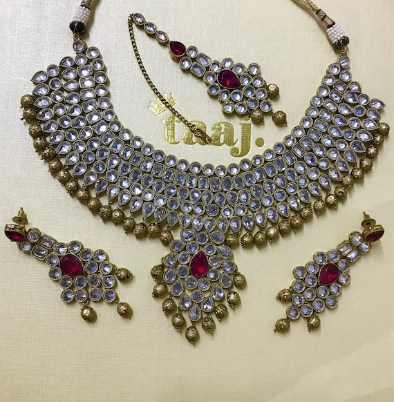 Farida Antique gold and dark pink zirconia Necklace Earring and tikka set, indian bride Pakistani jewellery