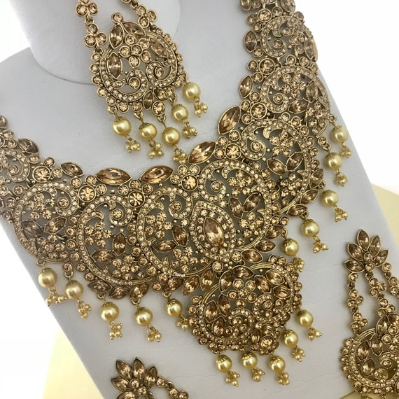 Gold diamanté and pearl necklace earrings & tikka set, indian bridal Pakistani jewellery