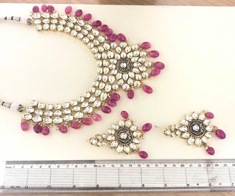 Gold kundan necklace earrings set indian bridal Pakistani style jewellery