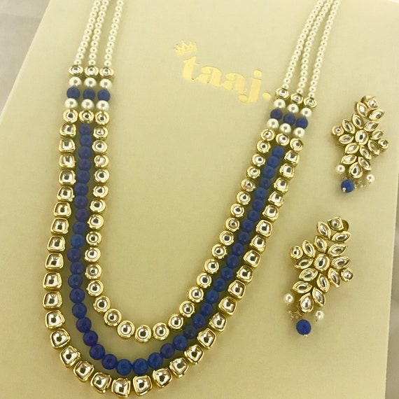 Haasa Royal blue long kundan pearl mala Necklace and earrings, indian bridal Pakistani jewellery