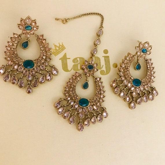 Harpar Antique gold & teal earrings tikka set polki kundan indian Bridal Pakistani jewellery