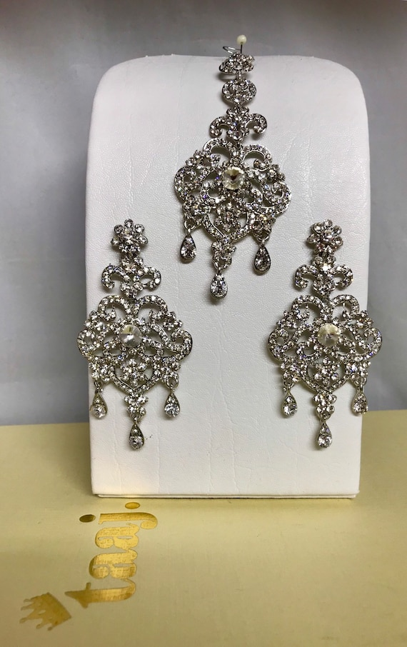 Lena Silver diamanté earrings and tikka set Indian Bridal Pakistani hijab jewellery