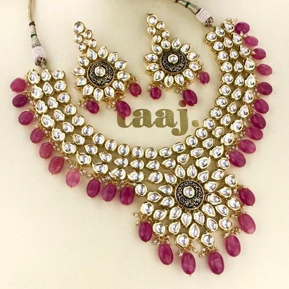 Kavani Gold kundan necklace earrings set, indian bridal Pakistani style jewellery