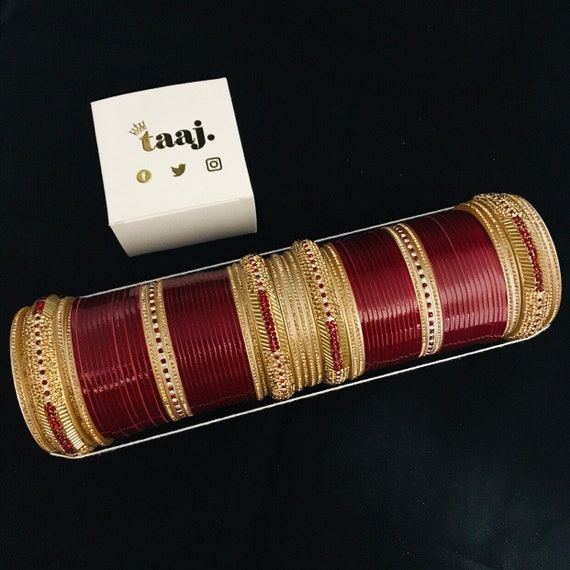 Harjit Maroon gold diamanté chura Indian Bridal bangles traditional punjabi kara kangan bracelet