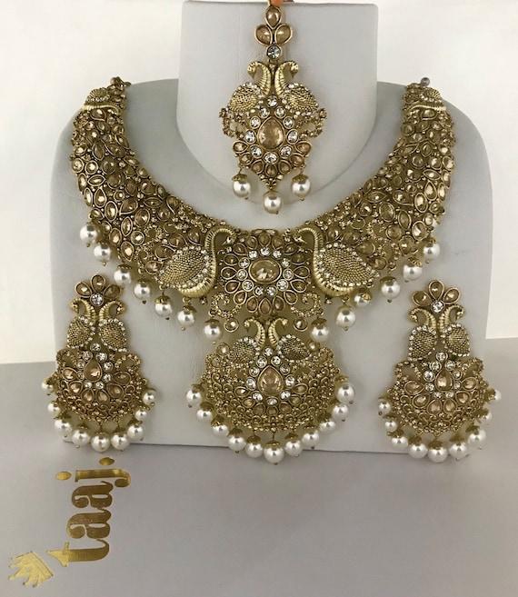 Nisha Gold zirconia pearl necklace earrings tikka set, indian bridal Pakistani jewellery